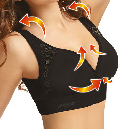 SANKOM SWITZERLAND Patent Aloe Vera Bra For Back Support - Black (Size S / M)