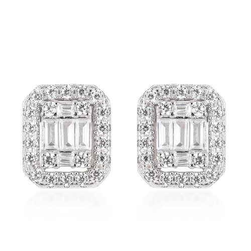 ELANZA Simulated Diamond Cluster Stud Earrings in Rhodium Plated Sterling Silver