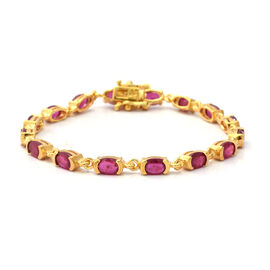 9.60 Ct African Ruby Tennis Design Bracelet in Yellow Gold Plated Sterling Silver 8.08 Grams 7 Inch