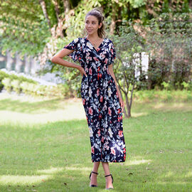 JOVIE Floral Pattern Smocked Waist Maxi Dress with Flutter Sleeve - Navy and Red