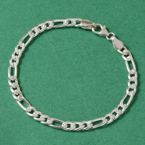 Sterling Silver Figaro Chain Bracelet (Size 7.5), Silver wt. 9.32 Gms