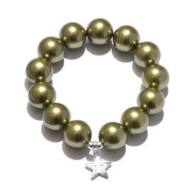 J Francis - Swarovski Crystal Gold  (Rnd 16 mm) Pearl Bracelet (Size 7 Stretchable) with Star Charm