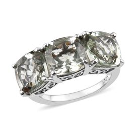 6.50 Ct Prasiolite and Diamond Trilogy Ring in Platinum Plated Sterling Silver