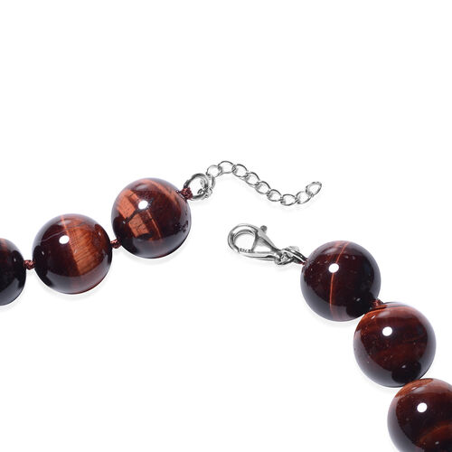 Red Tiger Eye Beads Necklace (Size 20 with 2 inch Extender) in Rhodium Overlay Sterling Silver 1309.50 Ct.