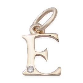 9K Yellow Gold Diamond Initial E Pendant