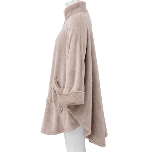 Solid Colour Super Soft Microfibre Jacket with Front Zipper Opening - Beige