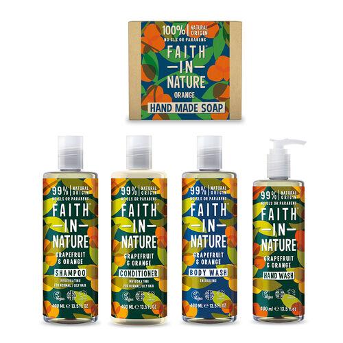Faith In Nature: Grapefruit & Orange Full Regime Bundle inclds. Shampoo 400ml, Conditioner 400ml, Bo