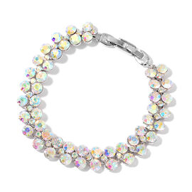 One Time Deal-Magic Colour Austrian Crystal (Rnd) Bracelet (Size 7.5) in Silver Plated