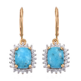 5.25 Ct Persian Turquoise and Cambodian Zircon Halo Drop Earrings in Gold Plated Sterling Silver