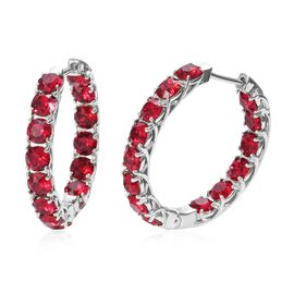 J Francis - Crystal from Swarovski Ruby Colour Crystal (Rnd) Hoop Earrings (with Clasp) in Platinum