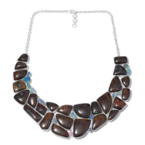 One Off A Kind- Boulder Opal Rock and Opal Double Necklace (Size 18 with 1 inch Extender) in Sterlin