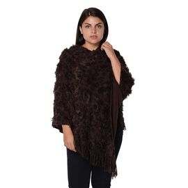 Leopard Pattern Winter Poncho with Tassels (Size 65x80 Cm) - Coffee and Black