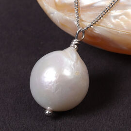 White Baroque Pearl Pendant with Chain (Size 18) in Rhodium Overlay Sterling Silver