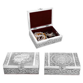 Set of 2 - Rose Embossed Jewellry Storage Boxes with Red Interior (17.7x 12.7x5.08 Cm)