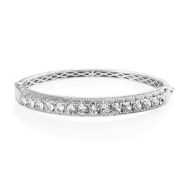 J Francis - Crystal from Swarovski White Crystal (Rnd) Bangle (Size 7.5) in Platinum Plated