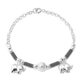 Epic Day Deal-Sterling Silver Elephant Charm Bracelet (Size 7.25), Silver wt 7.19 Gms