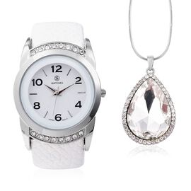 2 Piece Set - STRADA Japanese Movement Water Resistant Bangle Watch (6-7) with Simulated Diamond and