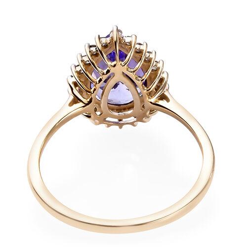 9K Yellow Gold AAA Pear Cut Tanzanite and Diamond Ring 2.00 Ct.