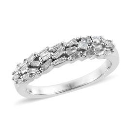 Diamond Platinum Overlay Sterling Silver Ring  0.250  Ct.