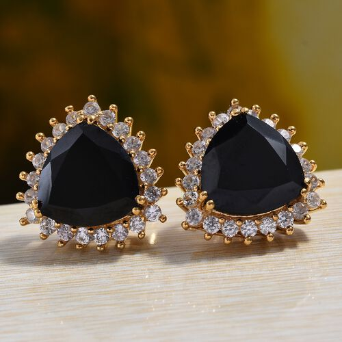 Natural Boi Ploi Black Spinel (Trl), Natural Cambodian Zircon Earrings (with Push Back) in 14K Gold Overlay Sterling Silver 15.25 Ct.