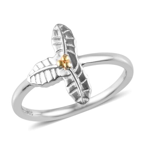 Platinum and Yellow Gold Overlay Sterling Silver 3-Petal Flower Ring