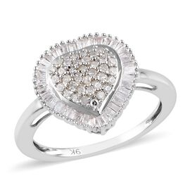 9K White Gold SGL Certified Diamond (I3/G-H) Heart Ring 0.500  Ct.