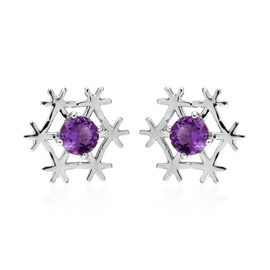 Moroccan Amethyst (Rnd) Snowflake Stud Earrings (with Push Back) in Platinum Overlay Sterling Silver