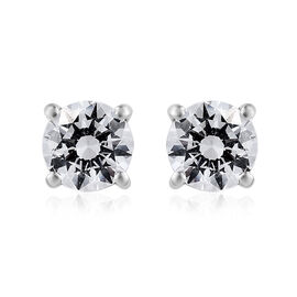 J Francis -Platinum Overlay Sterling Silver (Rnd) Stud Earrings (with Push Back) Made With SWAROVSKI