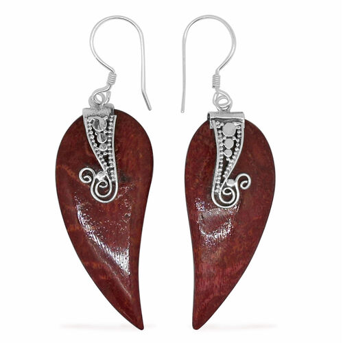 Royal Bali Collection Sponge Coral Hook Earrings in Sterling Silver 16.000 Ct.