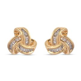 0.26 Ct Diamond Triple Knot Earrings with Push Back GH Colour in 14K Gold Plated Silver