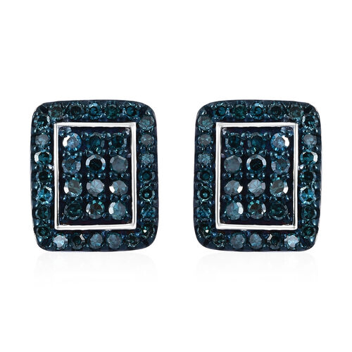 Blue Diamond (Rnd) Earrings (with Push Back) in Platinum and Blue Overlay Sterling Silver 0.500 Ct.