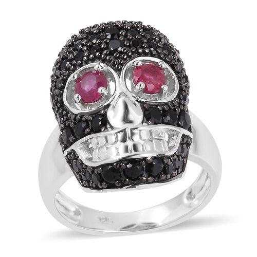 Designer Inspired-Boi Ploi Black Spinel (Rnd), African Ruby Skull Ring in Black and Rhodium Overlay Sterling Silver 2.470 Ct.