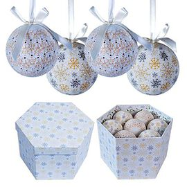 Set of 14 - Blue and Multi Colour Christmas Decoration Frost Decoupage Baubles in a Box (Size 21.5X1