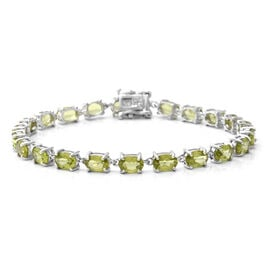 Monster Deal - AA Hebei Peridot Bracelet (Size 7) in Rhodium Overlay Sterling Silver 10.34 Ct