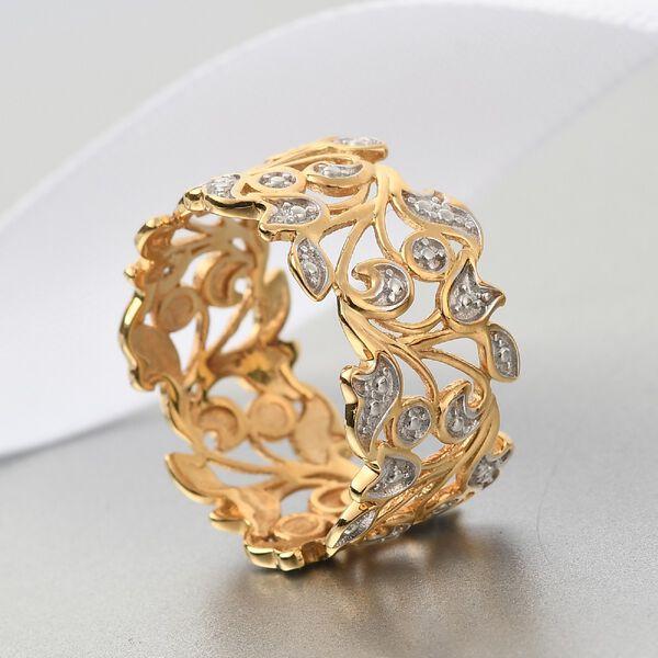 MP Designer Inspired- Diamond (Rnd) Leaf Ring in 14K Gold Overlay Sterling Silver