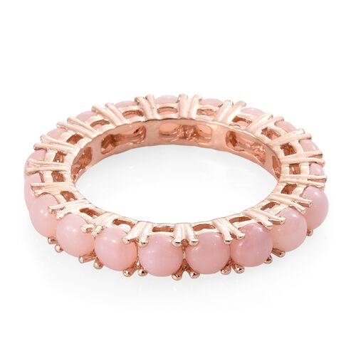 Peruvian Pink Opal (Rnd) Full Eternity Ring in Rose Gold Overlay Sterling Silver 3.750 Ct.
