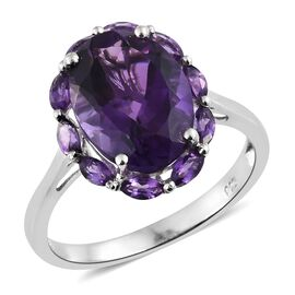 Lusaka Amethyst (Ovl 5.30 Ct) Ring in Platinum Overlay Sterling Silver 6.000 Ct.