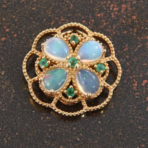 Ethiopian Welo Opal (Pear), Kagem Zambian Emerald Floral Pendant in 14K Gold Overlay Sterling Silver 1.750 Ct.