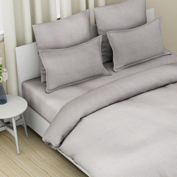 4 Piece Set - 100% Cotton Duvet Cover, 2 Pillow Case with Button Closure and Fitted Sheet (Size Double) - Grey