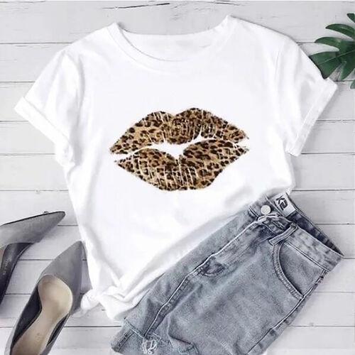 Kris Ana Leopard Kiss White T Shirt - Size: Large (12-14)