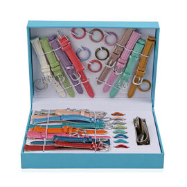 Gift Set of Analog Watch with 16 Interchangeable Leather Look Straps and Dial Rings - Multi Colour