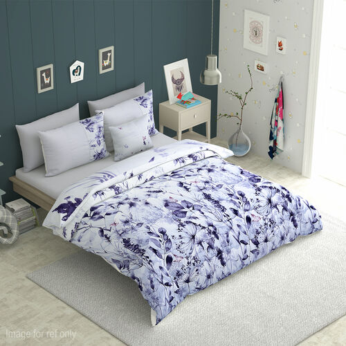 6 Piece Set - Flower and Leaves Pattern Comforter, Fitted Sheet, 2 Pillow Case and 2 Envelope Pillow