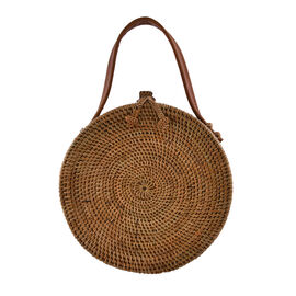rounded rattan bag with leather strap
