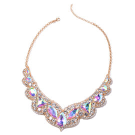 Simulated Mercury Mystic Topaz and White Austrain Crystal Necklace (Size 20 with 2.5 inch Extender)