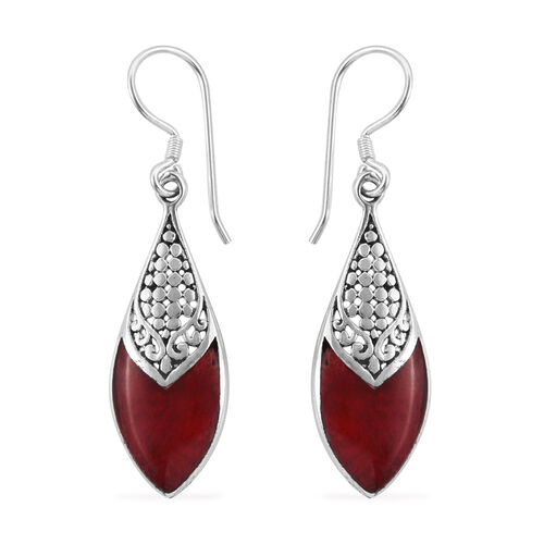 Royal Bali Collection Sponge Coral Hook Earrings in Sterling Silver