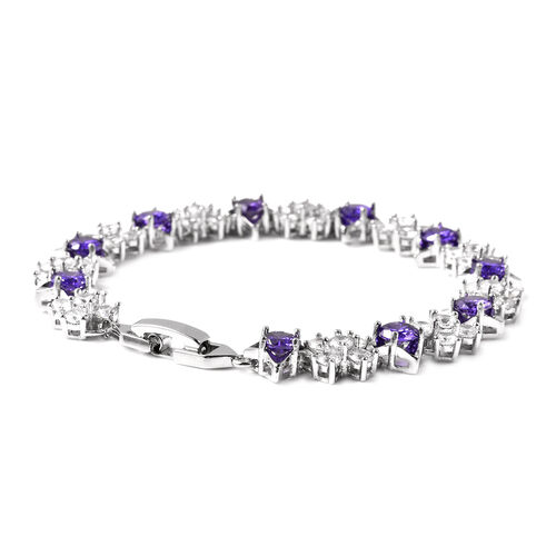 Simulated Diamond and Simulated Amethyst Bracelet (Size 6.75) in Silver Tone