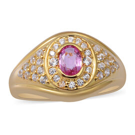 Pink Sapphire and Natural Cambodian Zircon Ring in Yellow Gold Overlay Sterling Silver 2.01 Ct.