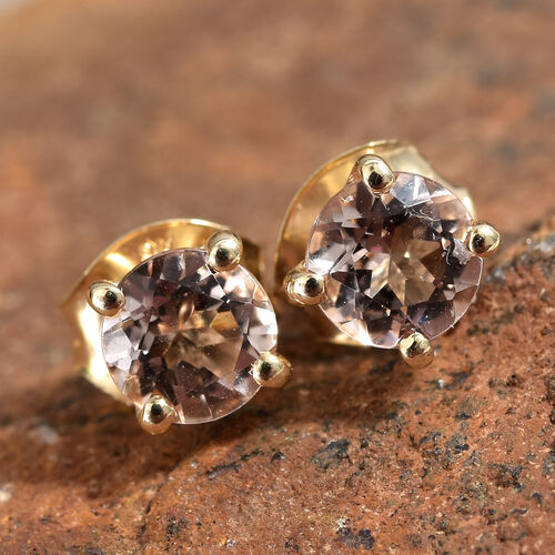 9K Yellow Gold  Marropino Morganite (Rnd) Stud Earrings (with Push Back) 1.000 Ct.
