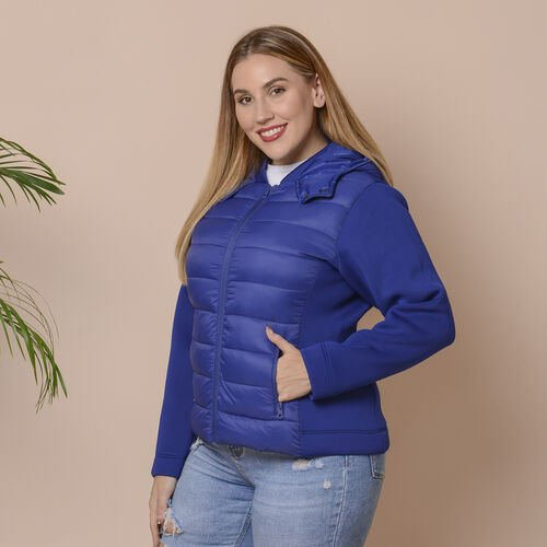 Winter Puffer Jacket with Hoodie in Blue (Size: XL, 22-24)