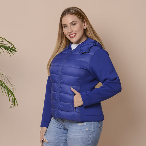 Winter Puffer Jacket with Hoodie in Blue (Size: XXL, 26-28)